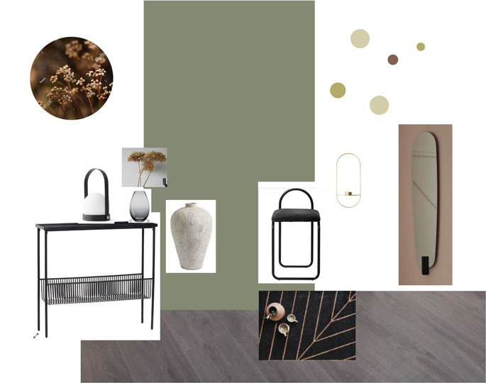 Home and style mood board entrance green wall Interiorarkitekt Jolanta Ratkeiciene Stavanger Norway