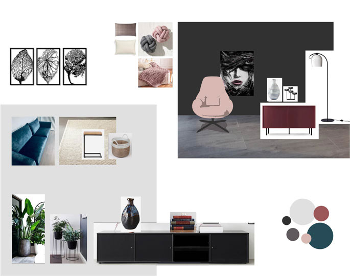 Home and style mood board inspiration living room dark grey wall Interiorarkitekt Jolanta Ratkeiciene Stavanger Norway