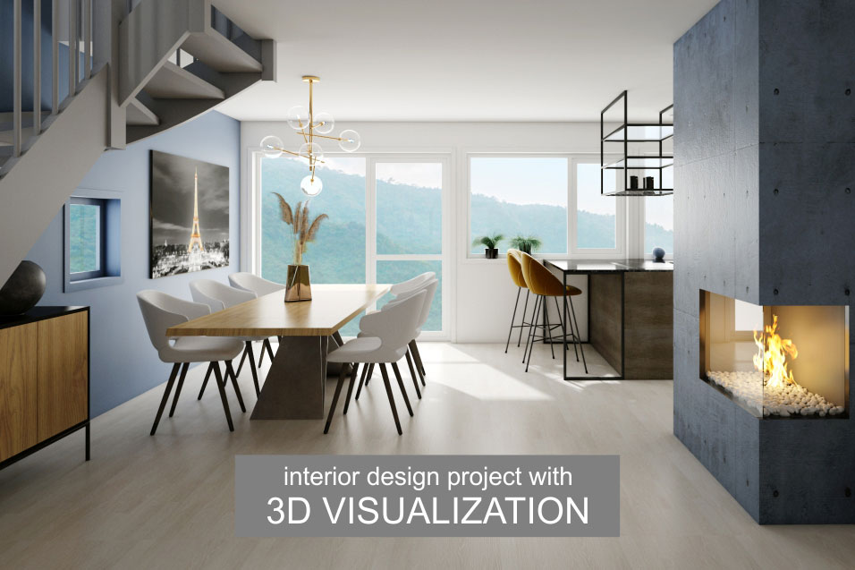 Interior project with 3D-VISUALIZATION dinning room fireplace design Home and Style inspiration